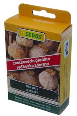 Mak siaty Major + značkovacia plodina reďkovka Stela, výsevný pásik 10 metrov