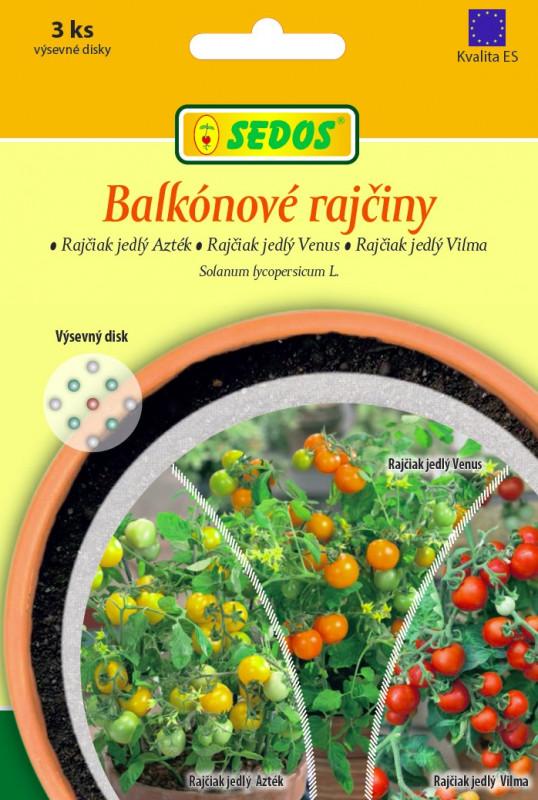 Balkónové rajčiny: rajčiak jedlý Azték, rajčiak jedlý Venus, rajčiak jedlý Vilma