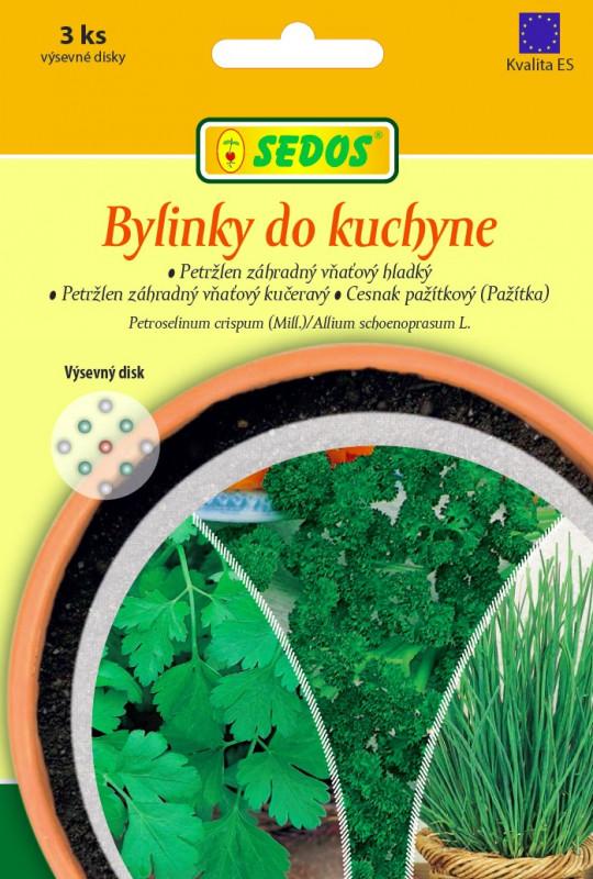 Bylinky do kuchyne: petržlen záhradný vňaťový hladký, petržlen záhradný vňaťový kučeravý, cesnak pažítkový (pažítka)