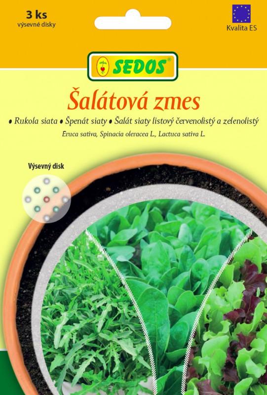 Šalátová zmes: rukola siata, špenát siaty, šalát siaty listový červenolistý a zelenolistý