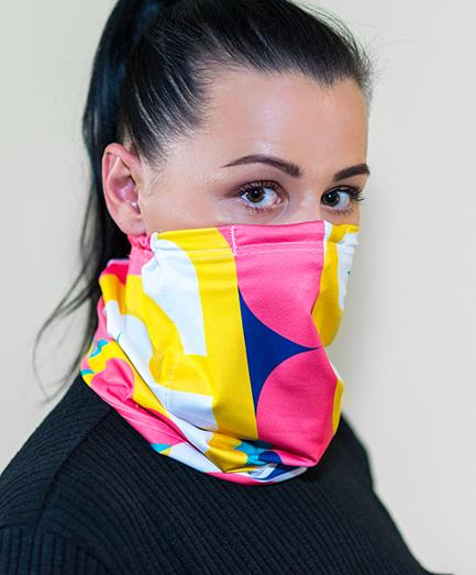 Antivírusová šatka s vymeniteľným filtrom z nanovlákna, farba mozaika