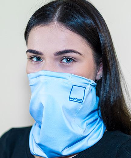 Antivírusová šatka s vymeniteľným filtrom z nanovlákna, farba svetlo modrá