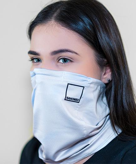 Antivírusová šatka s vymeniteľným filtrom z nanovlákna, farba svetlo sivá