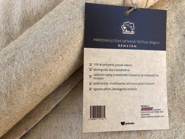 Netkaná jutová textília 300 g/m² bio-rozložiteľná, 0,5 m x 1 m